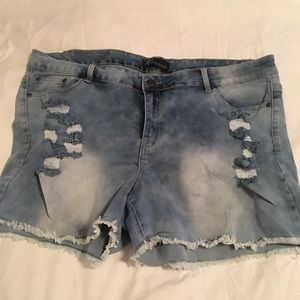 Stretchy Jean Distressed Shorts